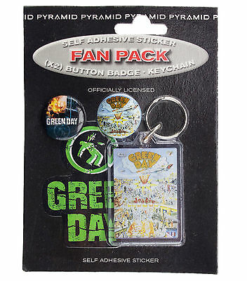 Green Day Badges, Keyring & Sticker Fan Pack New & Official Merchandise FP0049