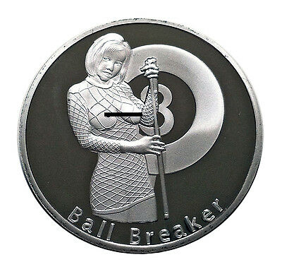 Ball Breaker Rack'em an Smack'em Heads & Tails Good Luck Challenge Coin