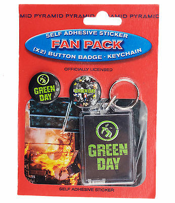 Green Day Badges, Keyring & Sticker Fan Pack New & Official Merchandise FP0009