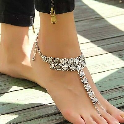 Ladies Summer Silver Coin Anklet Barefoot Beach Sandal Anklet Foot Jewellery- UK