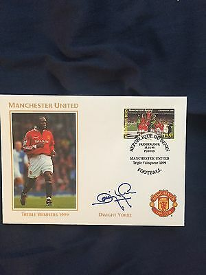 Dwight Yorke Manchester United Cover - Autopen Signed 1999 - Benin
