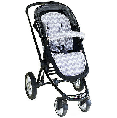 Bambella Pram Liner + Strap Covers Universal Fit GREY FAWN CHEVRON