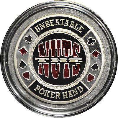 Casino Poker Card Guard Cover Protector THE NUTS silver color