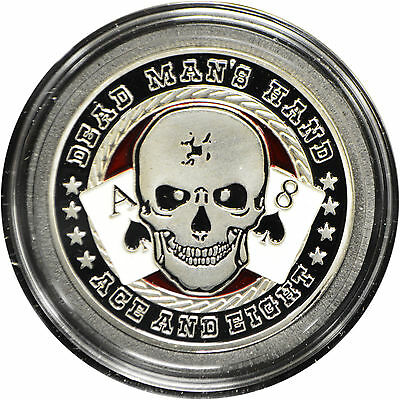Casino Poker Card Guard Cover Protector DEAD MAN'S HAND silver color