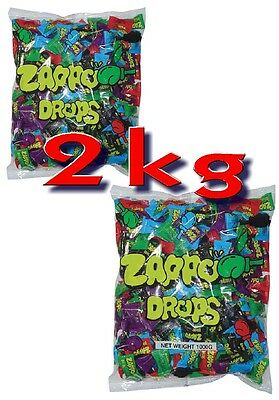 Bulk Lot 2 kg x Zappo Drops Bag 400 Pieces Sour Candy Lollies Buffet Sweets New