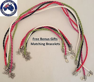 5pc Braided Necklace Kids Black White Green Pink Red Steel Set BONUS 5x Bracelet
