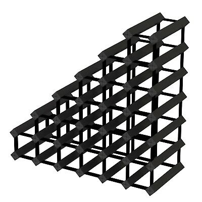 Sloped Staircase Timber Wine Rack - Black Onyx - Holds 27 Bottles of Wine