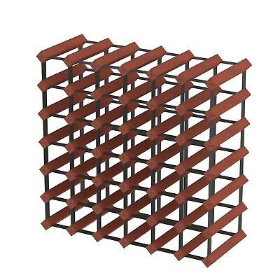 42 Bottle Timber Wine Rack - Dark Mahogany - Wine Storage Solution