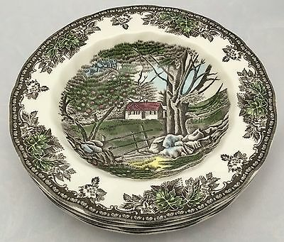 4 Johnson Bros. England The Friendly Village Rimmed Soup Bowls