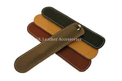 Leather Rounded Corners Pen Pencil Case Holder Sleeve 4 Colors