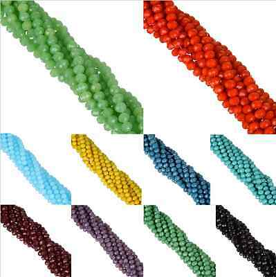 Wholesale Rondelle Faceted Crystal Glass Loose Spacer Beads Craft DIY 4/6/8/10mm