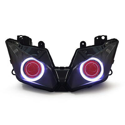 KT LED Angel Halo Eyes Headlight Assembly for Kawasaki Ninja 300 2013-2016 Red