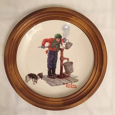 Gotham Norman Rockwell Four Seasons Plate with Wood Frame - 1977 Chilling Chore