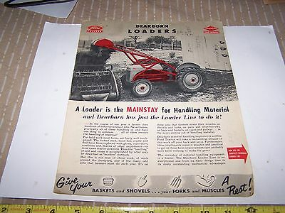 Original FORD DEARBORN Tractor LOADER Sales Brochure Farm Tractor Hit Miss WOW