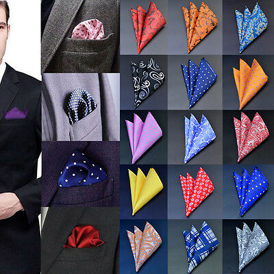 Men Pocket Square Handkerchief Silk Paisley Dot Floral Hanky Wedding Party F2