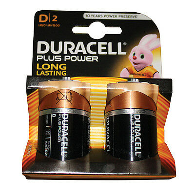 New Duracell Plus Power Batteries Size D Pack of 2. BNIB. MN1300B2PP