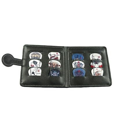 Leather Guitar Pick Holder Bag Case &12 Mixed Thickness Picks Plectrums Gift