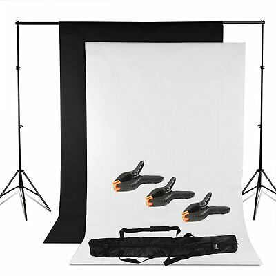 Background Stand Kit Set Photography Photo Studio Black White Backdrop + 3 Clamp