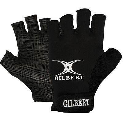 Gilbert Synergie Fingerless Rugby Glove All Weather Sports Gloves Black