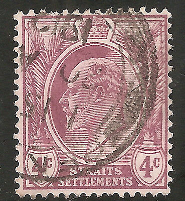 "Straits Settlements Stamp - Scott #112/A17 4c Dull Violet ""Edward"" Used/LH 1908"