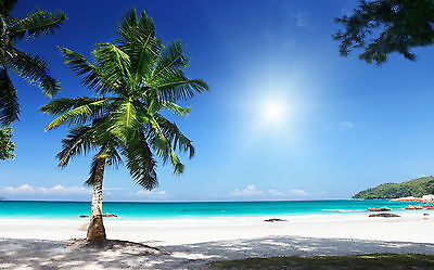 Tropical Beach Sand Sea Blue Waters Sunny Picture Fabric Wall Sticker Poster