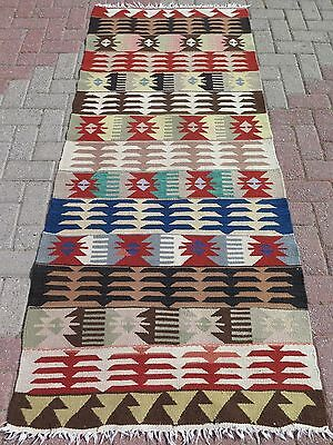 "Vintage Turkish Antalya Kilim Runner 34,6"" x 81,1"" Area Rug Runner Carpet"