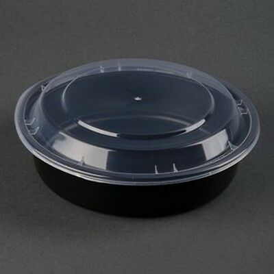 "Newspring NC723B Black 24oz. VERSAtainer 7""Round Microwavable Containers 150ct."