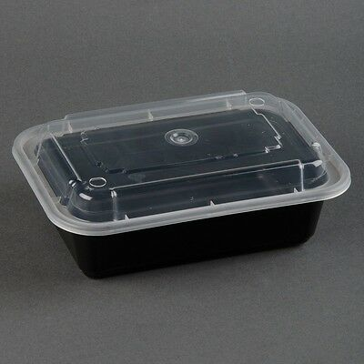 Newspring NC888B Black 38oz VERSAtainer 8x6 Rect Microwavable Containers 150ct.