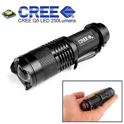 Zoomable Mini Flashlight CREE LED Q5 7W 300LM Torch Adjustable Focus Torch Lamp