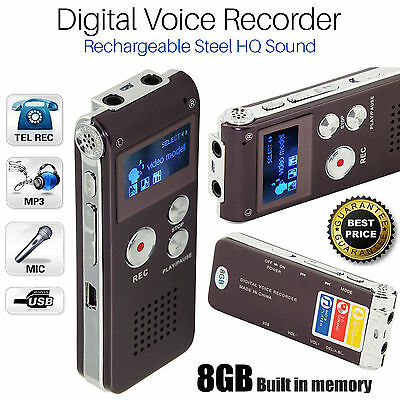 Rechargeable Digital Sound 8GB Recorder Steel Voice Dictaphone MP3 Player Record