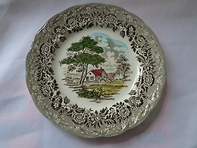 Grindley Transferware Hand Engraved Country Style Multi Colored Bread Plate