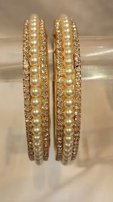 New Pearl Indian Traditional Ethnic Stone Bangles Kada Bollywood Jewellery 2 Pcs