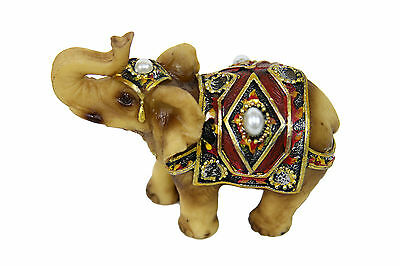 Feng Shui Miniature Elephant Statue Figurine Trunk Up Red Gift Home Decor