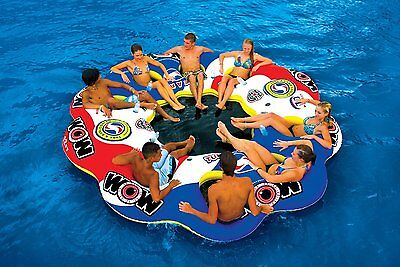 8 Person Inflatable Floating Huge Island Party Pool Raft Lounge Water River Lake