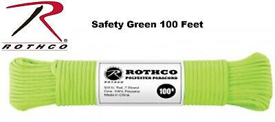 SAFETY GREEN 550LB 7 Strand 100% Polyester Type III Paracord Rope 100 Feet 30802