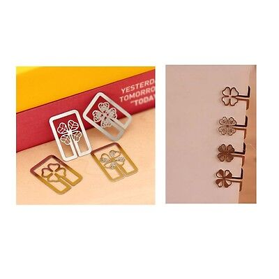 Mini Steel Book Mark Flower Shaped Bookmark Paper Clip Stationery Set of 8 clips