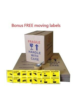 20 B/W 50L Moving Boxes + Free Labels Cardboard Removalist Package Deal