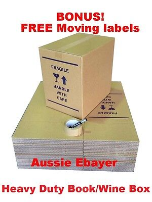 25 XBookWine MOVING BOXES+PACKING MATERIALS CARDBOARD REMOVALIST PACKAGE DEAL!!