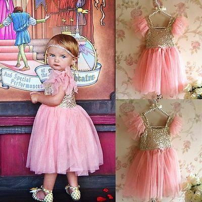 Girls Toddler Baby Tutu Dress Princess Sequin Party Birthday Pageant Kids Dress