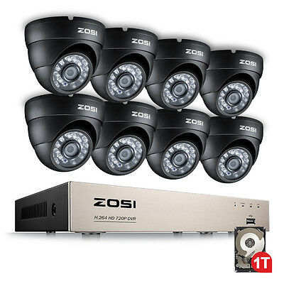 ZOSI 8CH 720P CCTV System HDMI DVR Day Night Outdoor Security Camera System 1TB