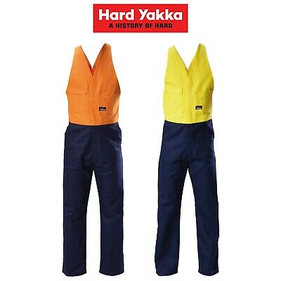 Mens Hard Yakka Foundations Hi-Vis Dtill Action Back 2 Toned Coverall Y01526