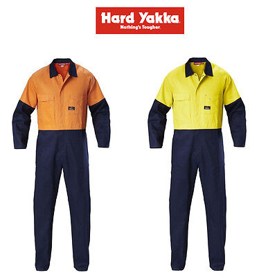 Mens Hard Yakka Foundations Hi-Vis 2 Tone Cotton Drill Coverall Overalls Y00270
