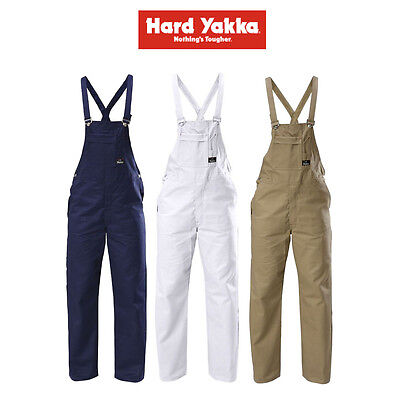 Mens Hard Yakka Foundations Bib & Brace Overall Cotton Drill Work Safety Y01010