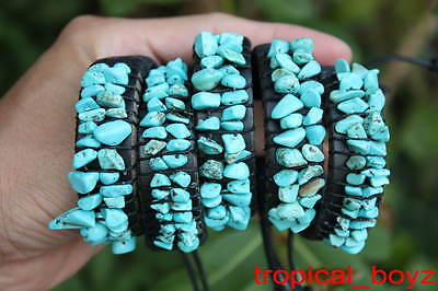 5 Crude Artificial Turquoise Leather Slip-Knotted Handmade Bracelets Wholesale
