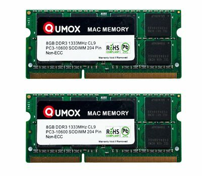 QUMOX  SODIMM 16GB(2x 8GB) DDR3 1333MHz PC3-10600 MEMORY for Apple Mac New