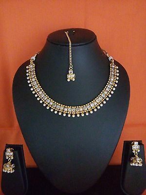 Indian FASHION EDH Jewelry necklace set bollywood ethnic gold plated traditional