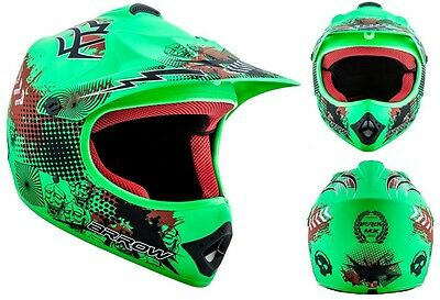 ARROW AKC-49 Cross Motorradhelm Kinder Kinderhelm Crosshelm grün - XS S M L XL