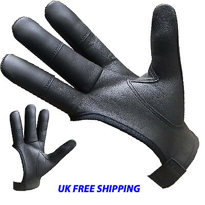Archers Real Leather Shooting 4 Finger Glove Black & Chocolate Brown