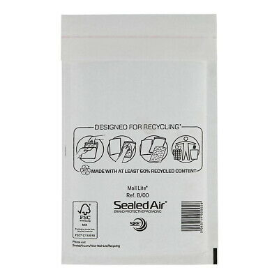 2000 X B/00 MAIL LITE SEALED AIR PADDED ENVELOPES - WHITE (115 x 205mm)