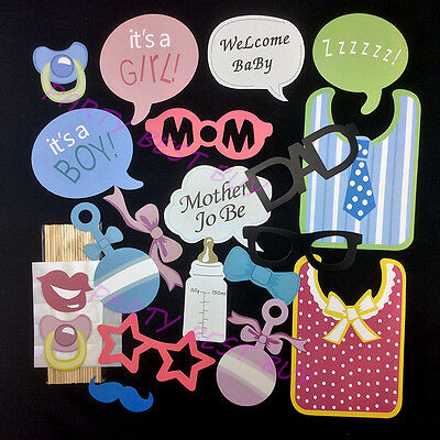 20PCS Baby Shower Photo Booth Props Party Decorations - BLUE, PINK MIXED